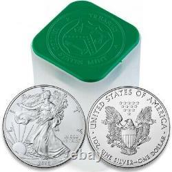 2020 1 Oz American Silver Eagle Lot, Rouleau De 20 20 $ Pièces En Tube À La Menthe