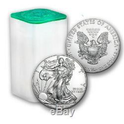 2020 1 Oz D'argent American Eagle (lot, Tube Monnaie, Rouleau De 20) $ 1 Coins