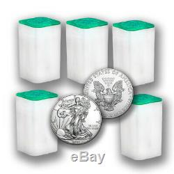 2020 1 Oz Silver Coins American Eagle Bu (lot 100) Tubes Cinq Pièces De 1 $ Us