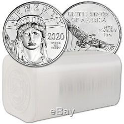 2020 Américain Platinum Eagle 1 Oz 100 $ 1 Pièces Rouleau Twenty 20 Bu Mint Tube