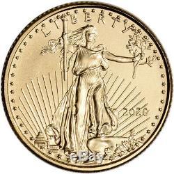 2020 Américaine Gold Eagle 1/10 Oz $ 5 1 Rouleau Fifty 50 Bu Pièces De Monnaie Dans Tube En Bon État