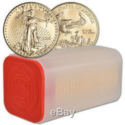 2020 American Gold Eagle 1 Oz 50 $ 1 Pièces Rouleau Twenty 20 Bu Mint Tube