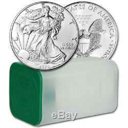 2020 American Silver Eagle 1 Oz 1 1 $ Pièces Rouleau Twenty 20 Bu Mint Tube