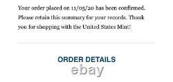 2020 American Silver Eagle V75 Fin De La Ww2 75e Anniv Pièce Confirmée Ordre De Menthe