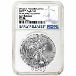 2020 (p) 1 $ Américain Silver Eagle Ngc Ms70 Er Production D'urgence Phila Monnaie