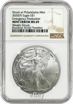 2020 (p) 1 $ Argent American Eagle Mint Erreur Faiblement Frappé Ngc Ms69 Philadelphie