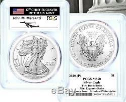 2020-p Émission D'urgence Silver Eagle-ms70 Pcgs-fdoi-menthe-engraver Mercanti-drapeau