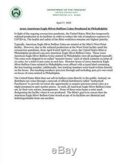 2020 (p) Monnaie De Philadelphie Frappé Américain Silver Eagle Scellé Monstre Box