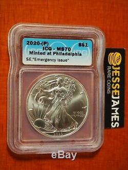 2020 (p) Silver Eagle Icg Ms70 Émission D'urgence Minted À Philadelphie Étiquette Monnaie