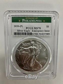 2020 (p) Tres Rare Mint American Eagle Argent Pcgs Ms70 D'urgence Philadelphie
