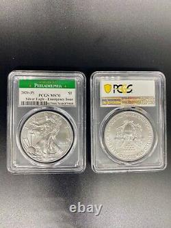 2020 (p) Très Rare Mint American Silver Eagle Pcgs Ms70 Emergency Philadelphie