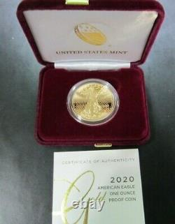 2020-w $50 One Ounce Gold American Eagle Proof Coin, Us Mint 20eb
