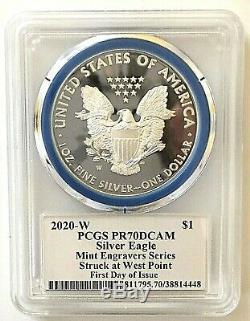 2020-w Monnaie Silver Eagle-engraver Pcgs Pr70-fdoi-mercanti-population Seulement 60