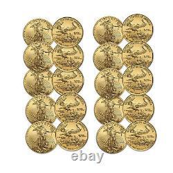 2021 1/10 Oz American Gold Eagle Bu (lot Of 10)