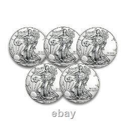 2021 1 Oz American Silver Eagle Bu Lot De 5