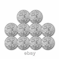 2021 1 Oz American Silver Eagle Bu (type 2)- Lot De 10 Pièces
