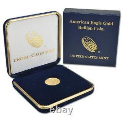 2021 American Gold Eagle 1/10 Oz $5 Bu Pièce De Monnaie Dans U. S. Mint Gift Box
