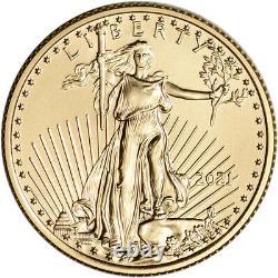 2021 American Gold Eagle 1/4 Oz $10 Bu Pièce De Monnaie Dans U. S. Mint Gift Box