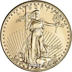 2021 American Gold Eagle 1 Oz 50 $ 1 Roll Twenty 20 Bu Coins In Mint Tube