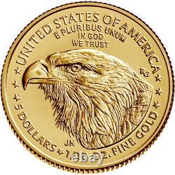 2021 American Gold Eagle Type 2 1/10 Oz 5 $ 1 Roll Fifty 50 Bu Pièces En Tube De Menthe