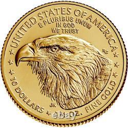 2021 American Gold Eagle Type 2 1/4 Oz 10 $ 1 Rouleau Quarante 40 Pièces Bu Dans Un Tube À Menthe
