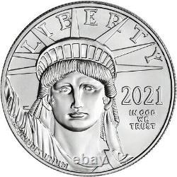 2021 American Platinum Eagle 1 Oz 100 $ 1 Roll Twenty 20 Bu Pièces En Tube De Menthe