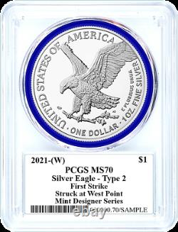 2021 Mint Designer Type 2 Silver Eagle-pcgs Ms70-first Strike-emily Damstra