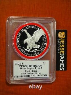 2021 S Proof Silver Eagle Pcgs Pr70 Type 2 Emily Damstra Mint Designer Series