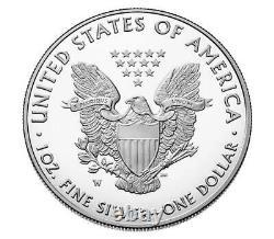2021 W American Eagle 1 Oz Argent Proof Type 1 Pièce -3 Pièces En Boîte Scellée Menthe
