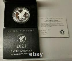 2021 W American Silver Eagle Proof Type 2 One Ounce Coin Us Mint Box Coa In Hand