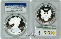 2021 W Argent Aigle Américain $1 Type 1 Pcgs Pr70dcam Fdoi West Point Mint