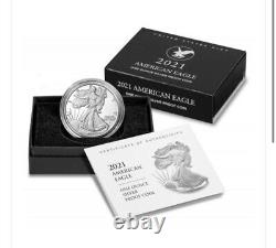 2021 W Prof American Silver Eagle Type 2 Ogp Et Coa Gem Mint Bu De Mint