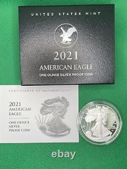 2021 W Us Mint American Proof Silver Eagle Dollar Type 2 En Main (21ean)
