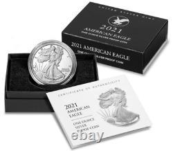 2021-w American Eagle Type 2 Pièce D'épreuve D'argent D'une Once (21ean) Lot De 3