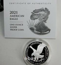 2021-w Dans La Main Type-2 Proof Américain Silver Eagle Coin Withu. S. Boîte À Menthe Et Aco