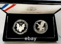 2021-w Silver Eagle Proof Type 1 & 2 Deux Coines Set Avec Us Mint Coa