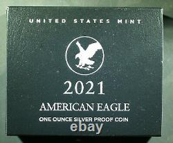 2021-w U. S. Type 2 American Silver Eagle Proof Ogp & Coa Vendu À La Monnaie