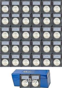 33 Pcs 1986-2018 American Silver Eagle Dollars Ms-69 États-unis Monnaie Set