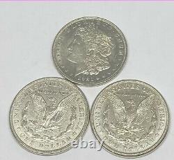 3 Ensemble De Menthe Complet 1921 P/d/s Morgan Silver Dollar 90% Eagle L'année Dernière Poli