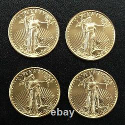 4 Bu 1999 Gold American Eagles 1/4 Oz. Chacun-un Total De 1 Ozt De Fine Gold Lot 104