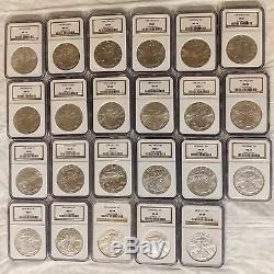 Américain Silver Eagle Ngc Ms-69 Lot De 23 Pièces De 1 $ En Dollars 1986-2009 1 Boîte Ngc