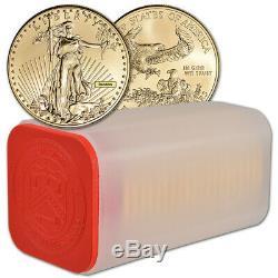 Américaine Gold Eagle 1 Oz 50 $ Au Hasard Date 1 Rouleau 20 Pièces Bu Mint Tube