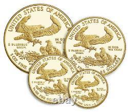 American Eagle 2021 Gold Proof Four-coin Set 4 Pièces 21ef Expédiés De Menthe