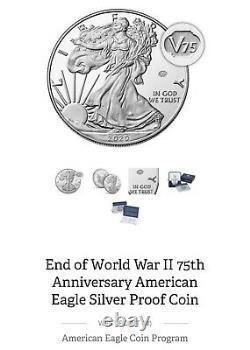American Mint End Of World War 2 75th Anniversary Eagle Silver Proof Coin