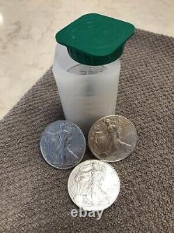 American Silver Eagle Bu Coins 2020. Lot Roll Of 20. Vingt. Tube À Menthe