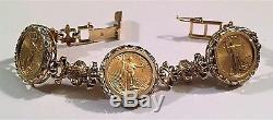 Art's Elegance Or 14k Pour Femmes $ 5 Bague Et Bracelet De Monnaies American Eagle Menthe