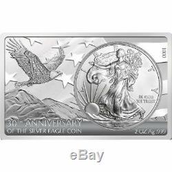 Barre De La Pièce De Monnaie Américaine Eagle, Argent, 30 Oz 2016, 3 Oz Withmint Packaging & Coa