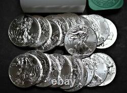 Bu Mint Roll 2014 American Silver Eagle 1 Once Pièces De Monnaie En Dollars, 20 Pièces En Rouleau