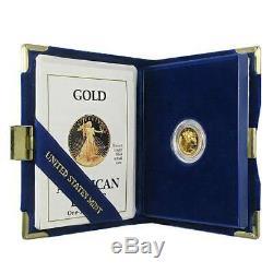 Coffret Et Certificat D'authenticité American Eagle Eagle De 1995 W Avec Preuve1 / 10 Oz