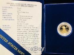 Coffret Et Certificat D'authenticité American Eagle Eagle Proof 1996 W 1/10 Oz